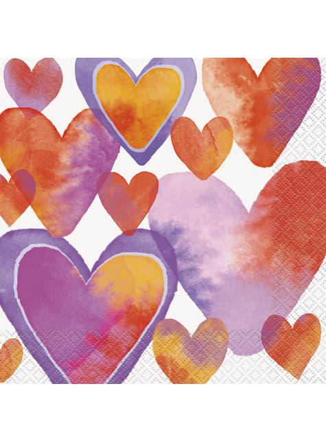 16 servilletas con corazones de acuarela (33x33 cm) - Watercolour Hearts