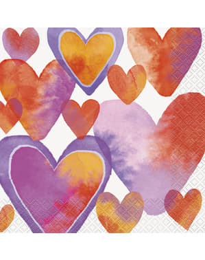16 napkins with watercolour heart (33x33 cm) - Watercolour Hearts