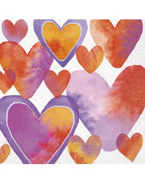 Sett med 16 servietter med vannfarge hjerter - Watercolour Hearts
