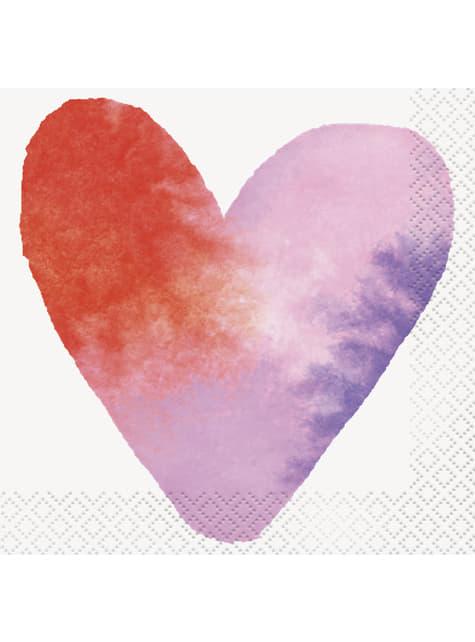 16 servilletas de cóctel con corazones de acuarela (13x13 cm) - Watercolour Hearts