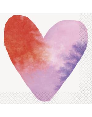 16 koktejlových ubrousků s vodovkovými srdíčky (13x13 cm) - Watercolor Hearts