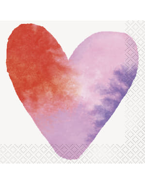 16 serviettes en papier cocktail cœurs aquarelles (13x13 cm) - Watercolour Hearts