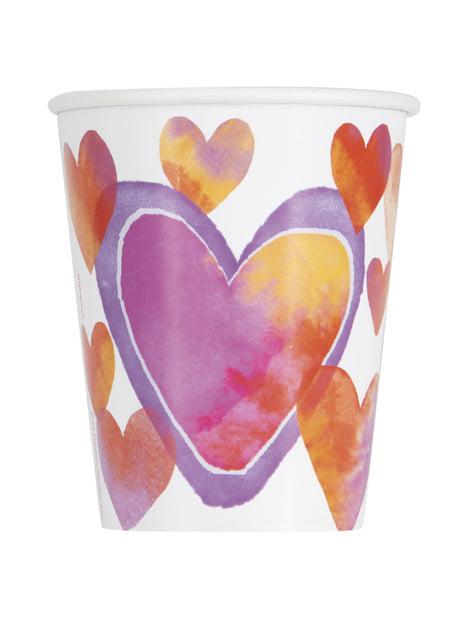 Conjunto de 8 copos com corações de aguarela - Watercolour Hearts