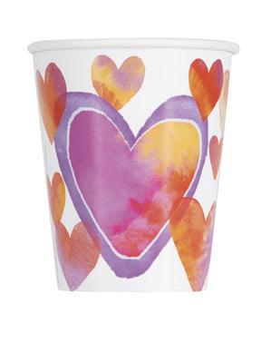 8 bicchieri con cuori di acquerelli- Watercolour Hearts