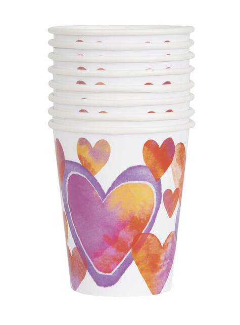 8 vasos con corazones de acuarela - Watercolour Hearts - para tus fiestas
