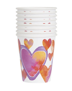 8 cups with watercolour hearts - Watercolour Hearts