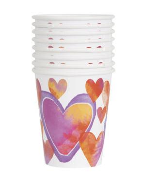 סט 8 כוסות עם לבבות בצבעי מים - לבבות צבעי מים