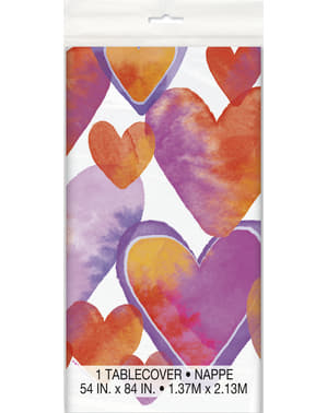 Table cloth with watercolour hearts - Watercolour Hearts