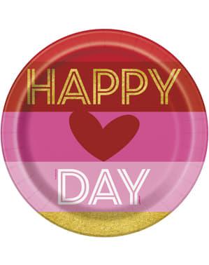 סט 8 צלחות עם לב פסים - זהב Happy Valentines
