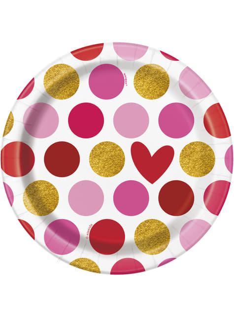 סט של 8 צלחות קינוח עם לב ופסים - זהב שמח חג האהבה