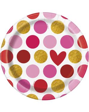 8 pratos de sobremesa com coração e risca (18 cm) - Gold Happy Valentines