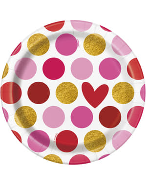 8 dessert plates with heart and stripe (18 cm) - Gold Happy Valentines