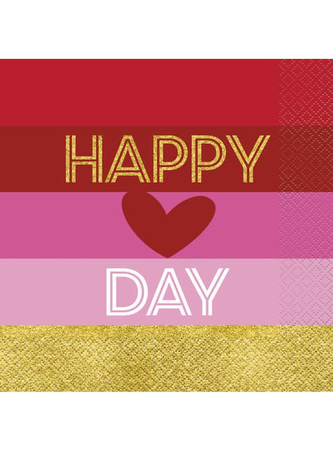 16 serviettes cœur et rayures - Gold Happy Valentines