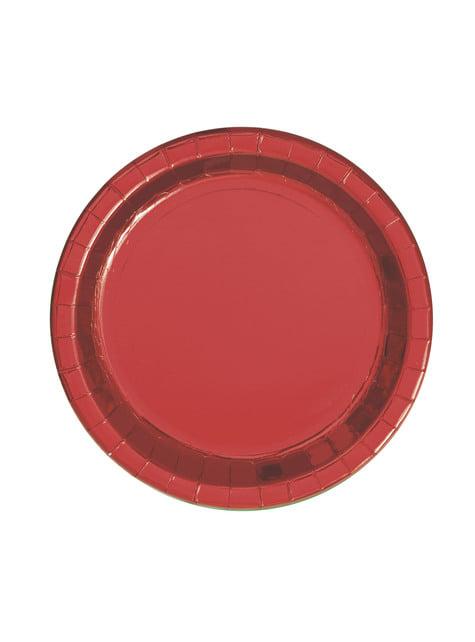 סט של 8 עגול מתכתי אדום קינוח צלחות - אדום לסכל תוכנית