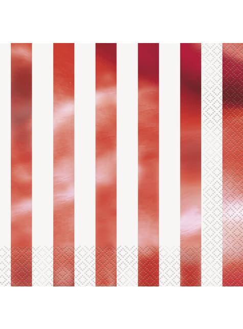 16 Serviettes en papier à rayures rouges métallisées - Red Foil Programme