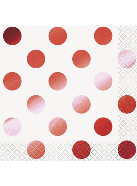 סט של 16 קוקטיילים מפיות עם נקודות פולקה אדומה מתכתיים - Red Foil תוכנית