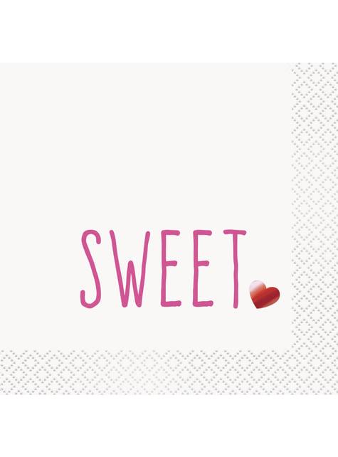 16 tovaglioli di cocktail dolce cuore- Red Foil Programme (13x13 cm)