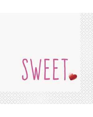 Σετ από 16 σερβιέτες κοκτέιλ με πρόγραμμα Sweet & Red Heart - Red Foil