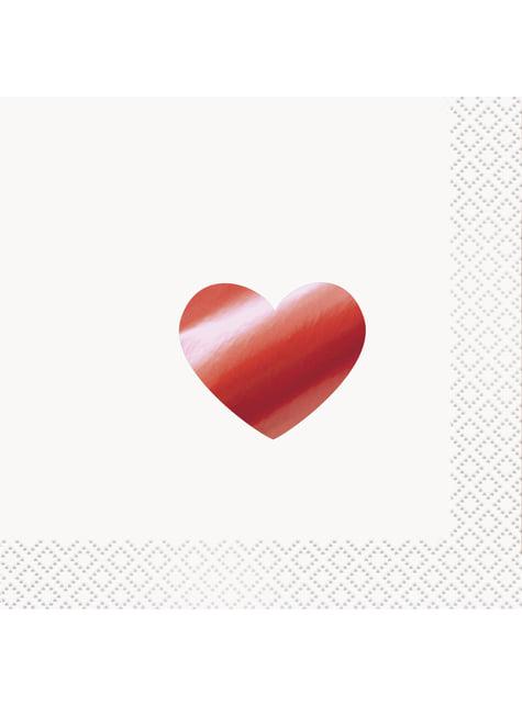 16 serwetki koktajlowe w metaliczne czerwone serca - Red Foil Programme