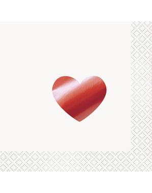 16 Cocktailservietter med Metallisk Rødt hjert (13x13 cm) - Red Foil Programme