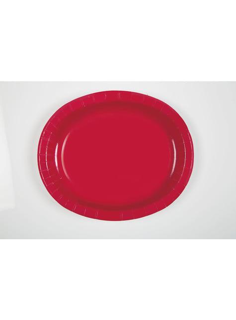 8 bandejas ovaladas rojas - Línea Colores Básicos