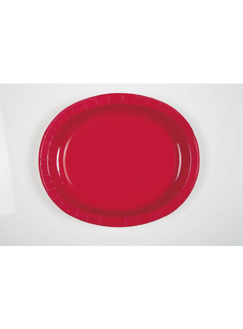 Set of 8 red oval trays - Basic Colours Line