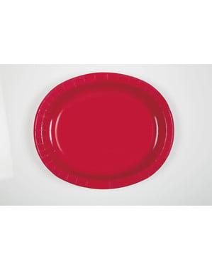 Ovale Pappteller Set 8-teilig rot - Basic Farben Kollektion