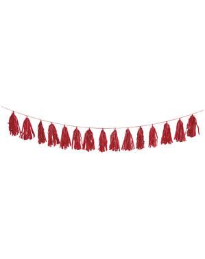 Guirlande pompons à franges de soie rouge - Gamme Couleur Unie