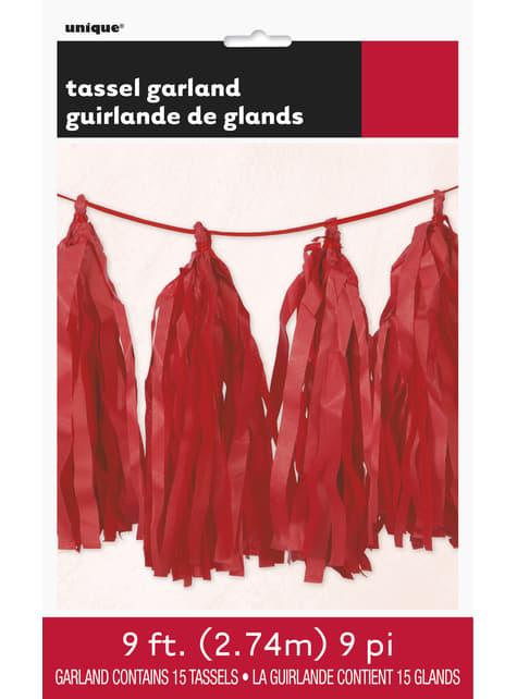 Guirnalda de borlas de papel de seda rojas - Línea Colores Básicos - para tus fiestas
