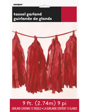 Garland made of red tissue paper tassels - Basic Colours Line
