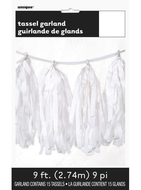 Guirnalda de borlas de papel de seda blancas - Línea Colores Básicos - para tus fiestas