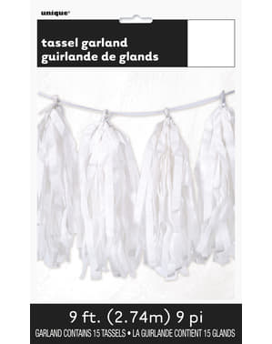 Garland made of white tissue paper tassels - Basic Colours Line