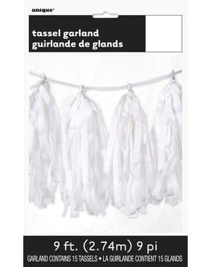 Guirlande pompons à franges de soie blanche - Gamme Couleur Unie