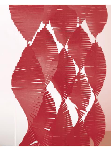 Cortina de franjas de papel crepe vermelha