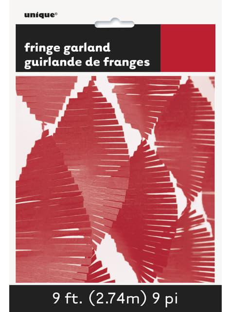 Rideau à franges en papier crépon rouge