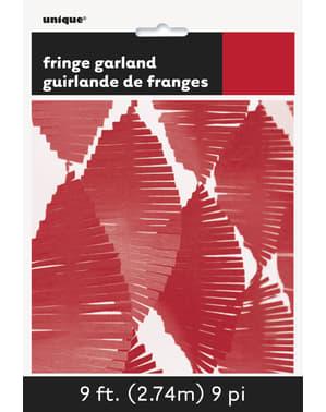 Cortina de flecos de papel crepe roja