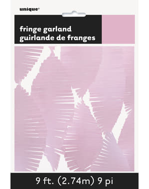 Cortina de franjas de papel crepe cor-de-rosa claro