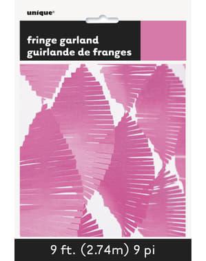 Cortina de flecos de papel crepe rosa