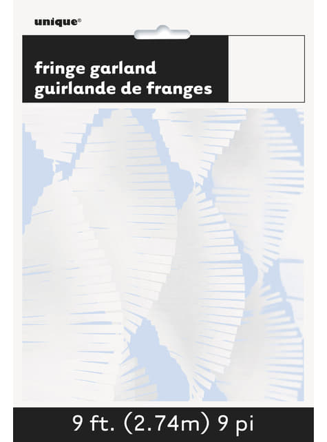 Cortina de flecos de papel crepe blanca