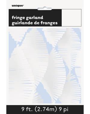 Rideau à franges en papier crépon blanc