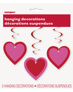 3 hanging decorations with hearts with double swirl