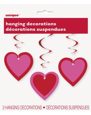 3 hængende dekorationer med hjerter med dobbelt hvirvel