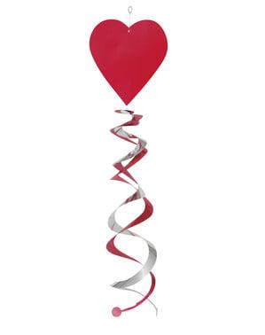 3 hængende dekorationer med hjerter og hvirvler