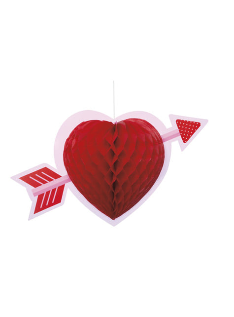 Decorative hanging heart made of honeycomb paper