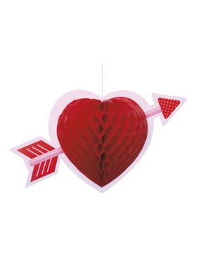 Dekorativt hengende hjerte laget av honeycomb papir