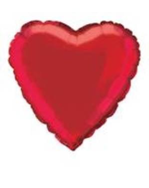 Herzförmiger metallic Luftballon rot