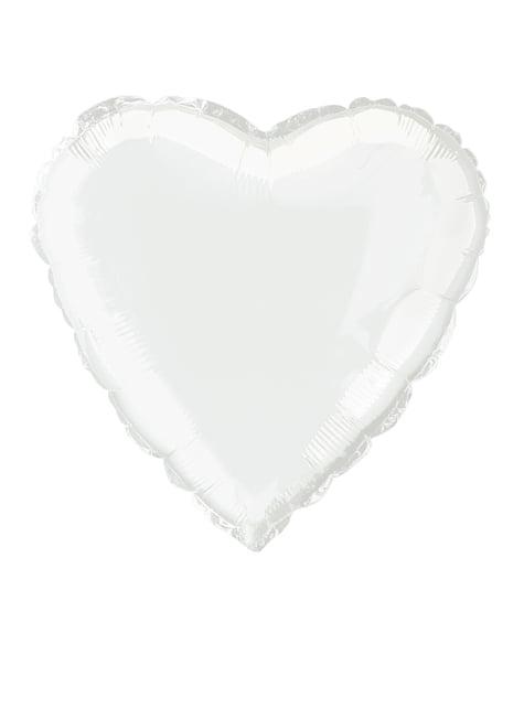 Balão de foil com forma de coração branco