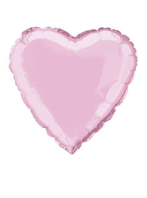 Balão de foil com forma de coração cor-de-rosa claro