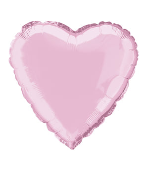 Lichtroze hartvormige folieballon