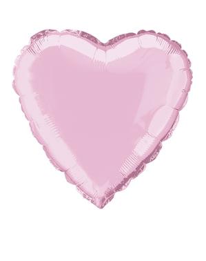 Světle růžový foliový balonek ve tvaru srdce